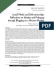 Medios Sociales y Autogestión Del Perfil Digital Identidad y Pedagogía Con Blogs en Un Máster en Inglés