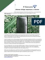 CONSULTCORP F-SECURE Nova Legislação Chinesa Obriga Empresas a Criarem Backdoors