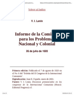 Informe de La Comisión Para Los Problemas Nacional y Colonial