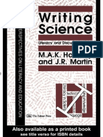 Summary of Comments on Writing Science- Literacy and Discursive Power