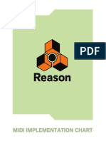 Reason 8 MIDI Implementation Chart