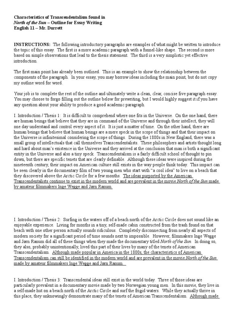 help writing an essay on transcendentalism