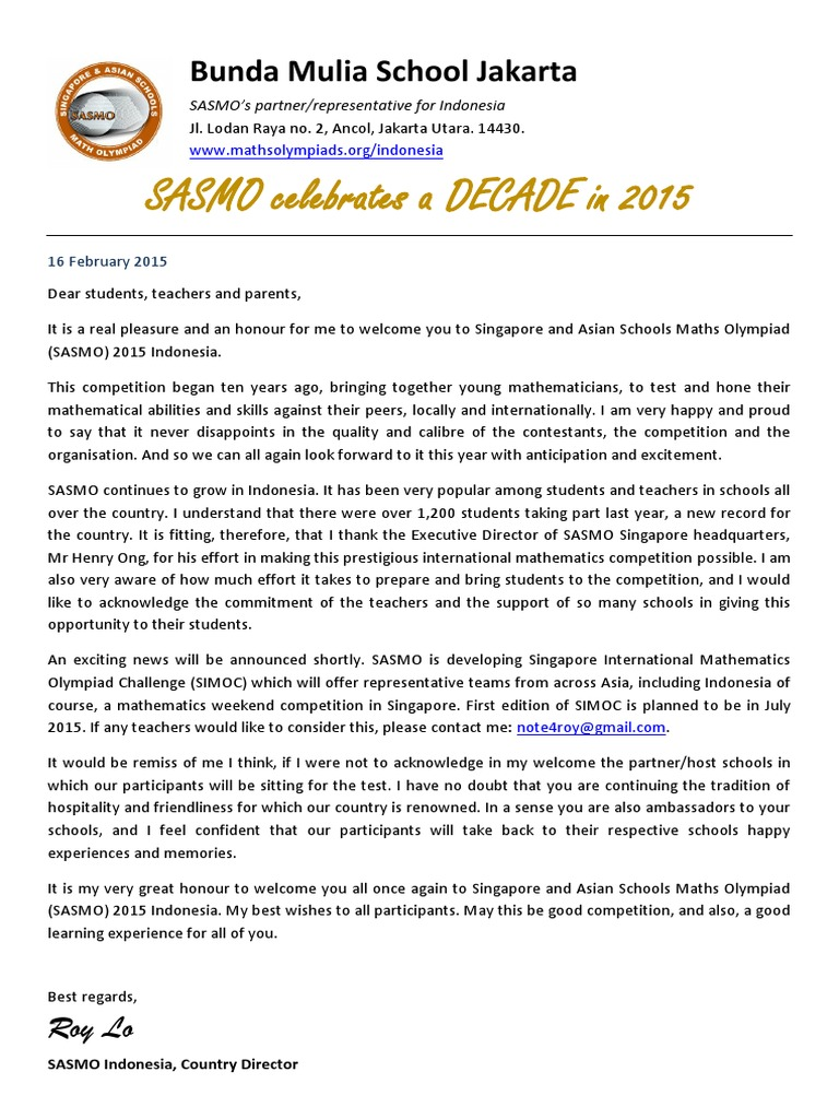 SASMO 2015 Indonesia Letter | Jakarta | Personal Growth