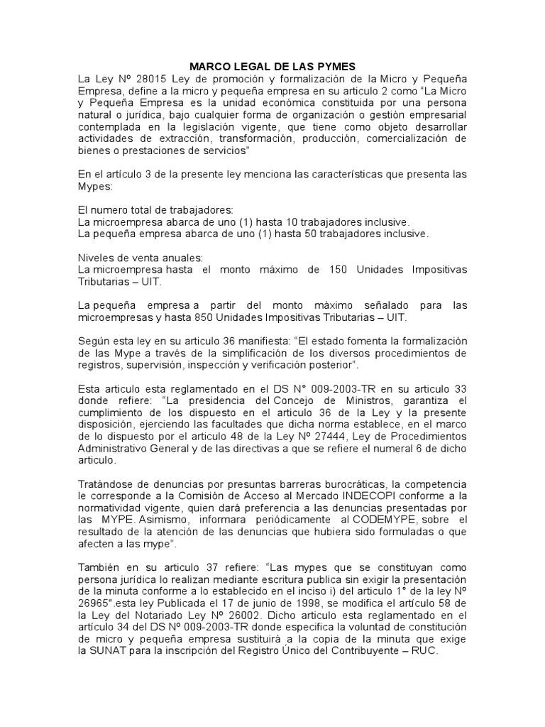 Marco Legal de Las Pymes