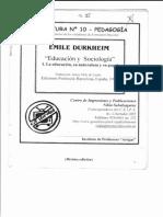 Educación y Sociología-- Durkheim