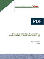 Ordenanza Municipal de Urbanismo, Construcción y Hornato Del Canton de Loja
