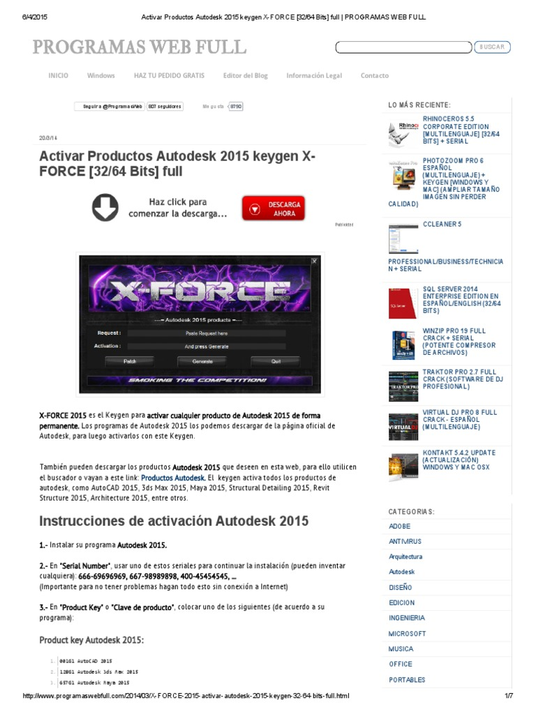 xforce keygen autocad 2015 64bit