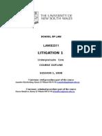 2008 Litigation 1 Course Outline Updated