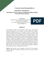 Strategic Corporate Social Responsibility as Stakeholder Management_Korean Case Study