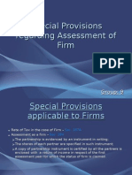 Special Provisions regarding Assessment of Firm