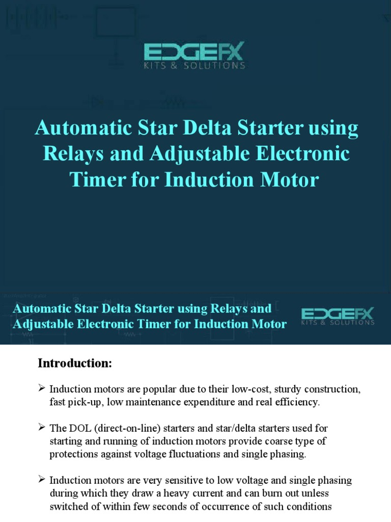 Automatic Star Delta Starter Using Relays and Adjustable Electronic Timer  for Induction Motor1 | Relay | Bipolar Junction Transistor