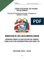 Directiva Nº 001–2015–Mdpva-oidur Ejecucion de Obras