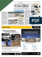 25-3-15 El Comercio -Lluvias Bloquean Vías y Obligan a Cancelar Clases en Ocho Regiones Del País