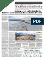 26-3-15 El Comercio - Lluvias Agravadas Por El Calentamiento Del Mar Continuarán Hasta Fines de Abril