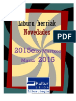 2015eko Martxoko liburu berriak -- Novedades marzo 2015