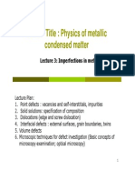 Lecture 3 _ Imperfections in Metals