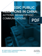 Strategic Public Relations in China - Actions Behavior Communications