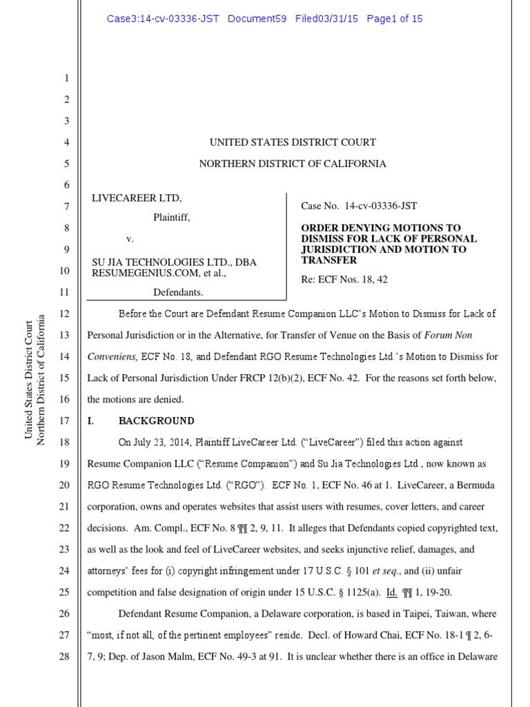 Live Career v. Resume Geinus - personal jurisdiction.pdf | Personal ...