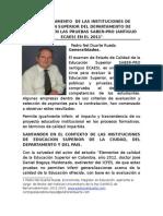 Comportamiento de Las Instituciones de Educacion Superior Del Departamento de Santander en Las Pruebas Saber