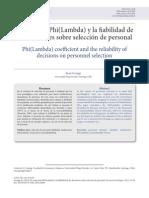 Coeficiente Phi(Lambda) y La Fiabilidad de Las Decisiones Sobre Selección de Personal. Revista de Psicologia, 23 (1) 12-20