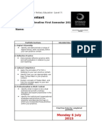 Template for the Assessment Timeline First Semester 2015