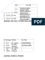 Jadwal on Call 24 Jam