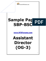 SBP-BSC Assistant Director (OG-3) Sample Paper