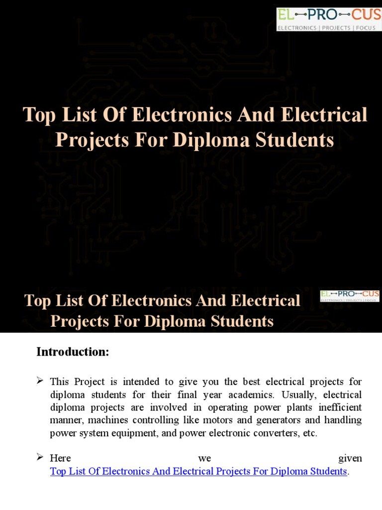 Top List Of Electronics And Electrical Projects For Diploma Students Power