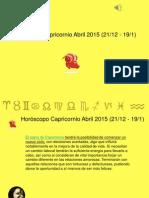 Horoscopo Capricornio Para Abril 2015