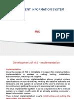 Development of MIS - Implementation