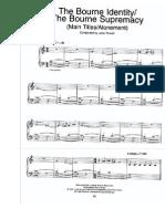 Bourne Identity/ Supremacy Piano Sheet Music