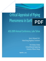 Richards Critical Appraisal of Piping Phenomena in Earth Dams