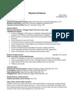 shannon internship resume masters program