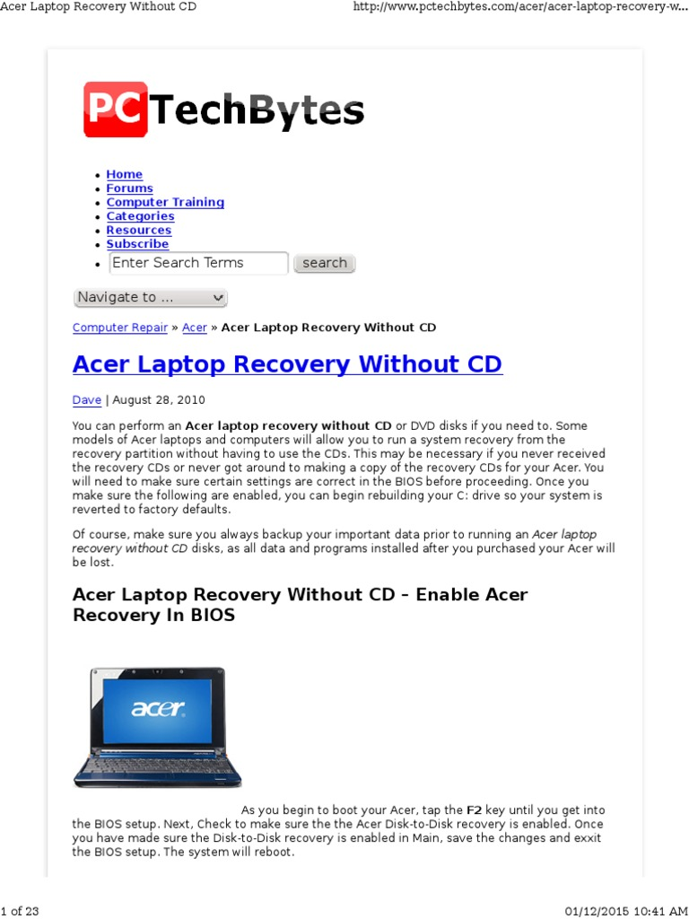 acer aspire 5520 recovery disk free download