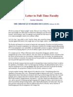 Letter from An Adjunct Teacher