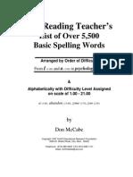 Sample 215 Reading Teachers List Basic Spelling Words