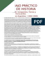 Inmigrantes, Tierras y Ferrocarriles en Argentina  ( 1860-1900)