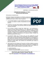 Comunicado Nacional N 7-2014 - Aclaraciones Necesarias