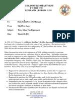 Tybee Island Fire Chief Skip Sasser Retirement Letter