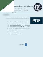 Examen Algebra Lineal Unidad 3 Sistemas de Ecuaciones Lineales