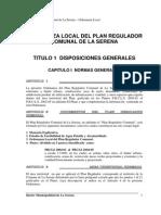 Ordenanza Local Plan Regulador La Serena