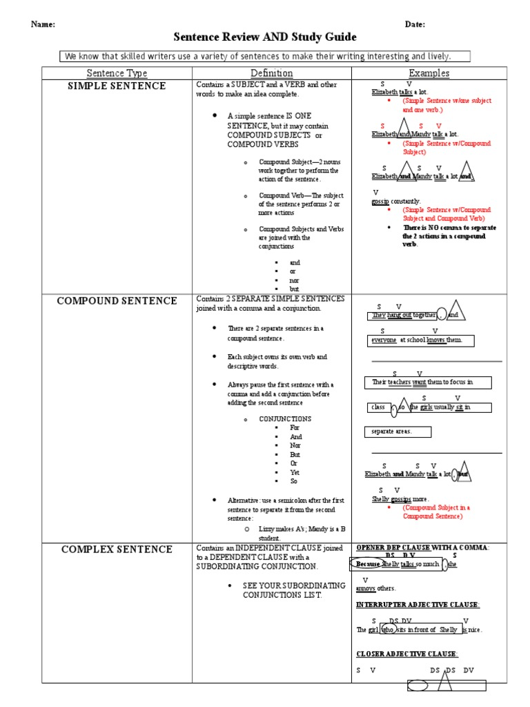 Diagramming Sentences Review 1 Manual Guide