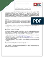 Greivance Redressal Guidelines HDFC