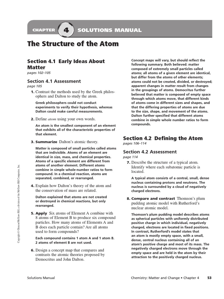 worksheet Matter And Change Worksheet chapter 4 assessment solution manual the structure of atom atoms atomic nucleus