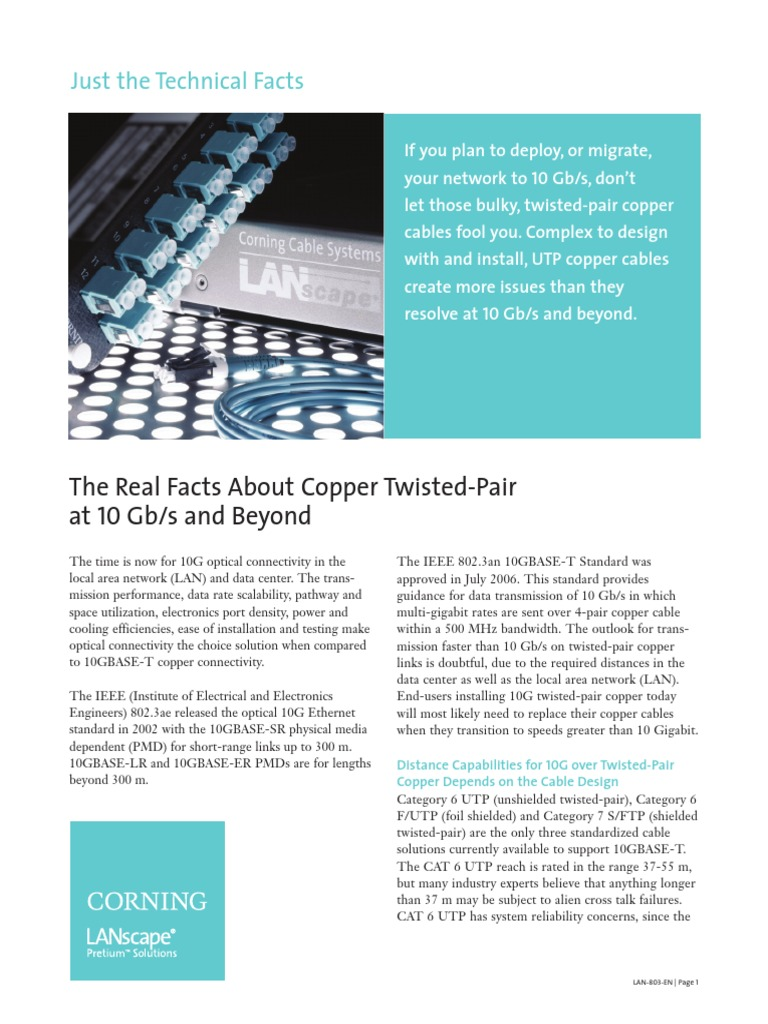 The Real Facts About Copper Twisted Pair At 10gb And Beyond Cable Wiring Solutions Ltd Optical Fiber