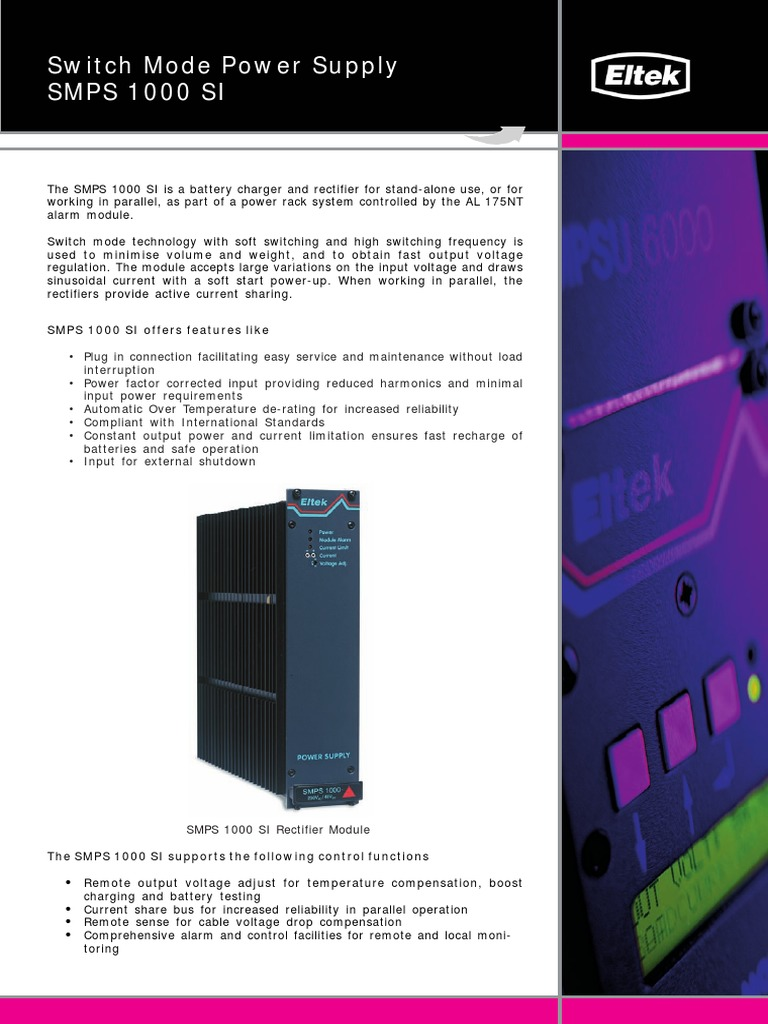 Eltek Smps Spec | Battery Charger | Manufactured Goods