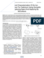 Synthesis and Characterization of an Ion Imprinted Polymer for Cadmium Using Quinaldic Acid as Complexing Agent and Applying by Microwave
