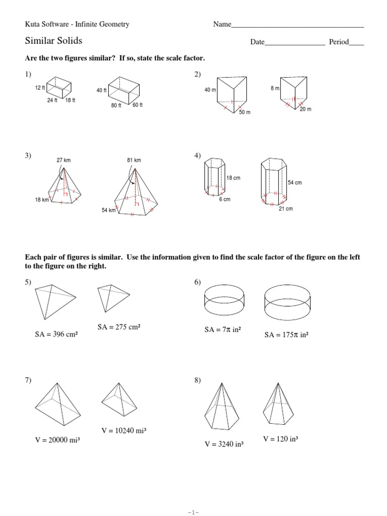 worksheet Surface Area And Volume Of Solids Worksheet 10 similar solids surface area area