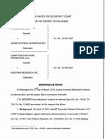Computer Software Protection, LLC v. Adobe Systems Inc., C.A. No. 12-451-SLR (D. Del. Mar. 31, 2015).