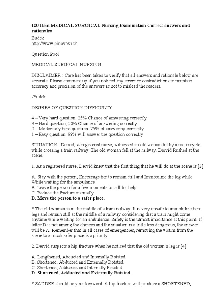 100 item medical surgical nursing examination correct answers and 100 item medical surgical nursing examination correct answers and rationales glaucoma tuberculosis xflitez Gallery